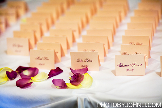 wedding in Pacific Palm reception name tags