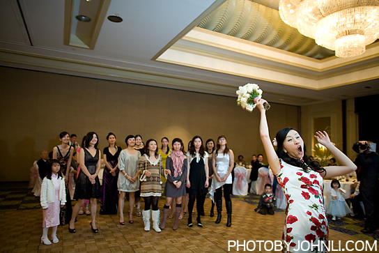 wedding photos in Pacific Palm reception bouquet toss