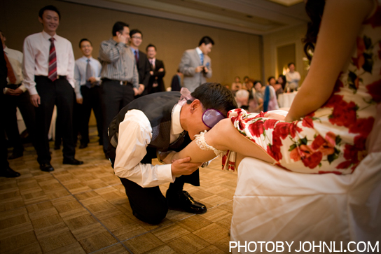 wedding photos in Pacific Palm reception garter toss game