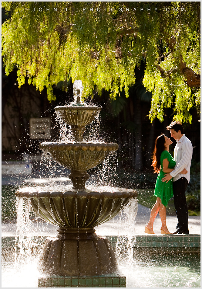 Fountain los angeles river and center gardens engagement photos with Fountain
